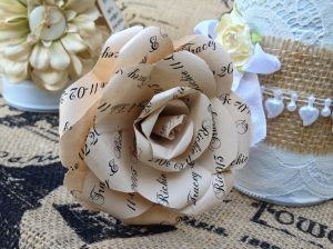 Paper flowers with our name and wedding date