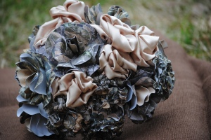 Camo paper flowers with champagne satin flowers