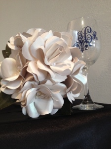 ivory paper flowers with pearl accents
